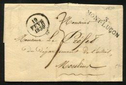 ALLIER : Pli De COMMENTRY De 1830 En Port Du Avec Marque Linéaire 3/MONT-LUCON Pour MOULINS - Marcophilie (Lettres)