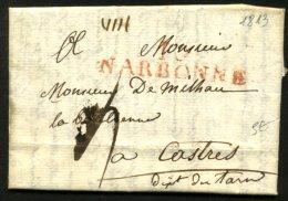 AUDE: Pli De NARBONNE De 1813 En Port Du Avec Marque Linéaire Rouge 10/NARBONNE Pour CASTRES - Marcophilie (Lettres)