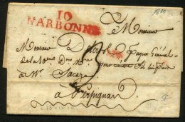 AUDE: Pli De NARBONNE De 1810 En Port Du Avec Marque Linéaire Rouge 10/NARBONNE Pour PERPIGNAN - Marcophilie (Lettres)