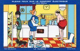 """Buvard  - Pleins Feux Sur Le Confort Electrique Par Jean Bellus  """" La Cuisine """" - Electricité & Gaz"""
