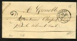 ISERE: Pli De BARRAUX De 1852 En Port Du Avec CàDate T 15 LE TOUVET + Cursive 37 Barraux Pour GRENOBLE - Marcophilie (Lettres)