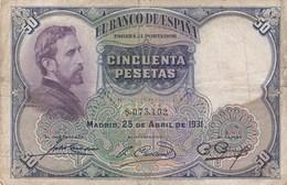 Espagne - Billet De 50 Pesetas - 25 Avril 1931 - Eduardo Rosales - [ 1] …-1931 : First Banknotes (Banco De España)