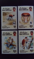 Brunei 1991 Animal Singe Monkey WWF Yvert 431-434 ** MNH - Brunei (1984-...)