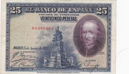 Espagne - Billet De 25 Pesetas - 15 Août 1928 - Calderon De La Barca - [ 1] …-1931 : First Banknotes (Banco De España)
