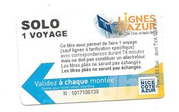 Ticket Solo Azur. (Voir Commentaire) - Bus