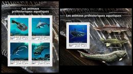 DJIBOUTI 2018 - Water Prehistorics, M/S + S/S. Official Issue - Préhistoriques