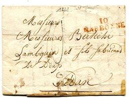 AUDE De NARBONNE LAC Du 03/07/1823 Linéaire 37x10,5 Et Taxe Bleue De 10 Pour SEDAN - Storia Postale