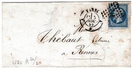 Lettre 1859 Paris Pour Rennes Ille Et Vilaine Napoléon III 20 Centimes - 1853-1860 Napoleon III
