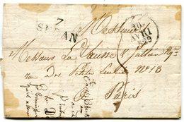 ARDENNES De SEDAN LAC Du 20/04/1829 Linéaire 26,5x11 Taxée 5 Pour PARIS - Storia Postale