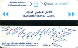 Métro D'Alger (Algérie) -  Carte Pour 10 Voyages - Visuel 2018 - Métro