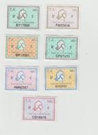 Série Complète Timbres Fiscaux -  7 Timbres Amende - Revenue Stamps
