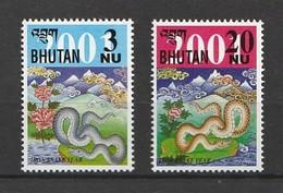 Bhutan 2001 Scott 1335-36Lunar New Year Of The SnakeNH 2v - Bhutan