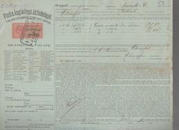 Bordeaux à HELSINGFORS (Finlande)    : Connaissement 1893  ... 5 Caisses Eau De Vie   (CAT 1180) - Transport