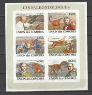 ISOLE COMORE - 2008 Paleontology Science Prehistoric Animals Birds  6v M/s Imperforated Serie Cpl. 1 BF Nuovo** Perfetto - Isole Comore (1975-...)