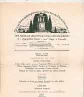 MENU  DES METS DE PROVENCE CHEZ MAURICE BRUN MARSEILLE / AU DOS COUPO SANTO FREDERIC MISTRAL - Menükarten