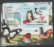 ISOLE COMORE - 2011, Animals Insects Butterflies Papillons M/s Imperforated Serie Cpl. 1 BF Nuovo** Perfetto - Isole Comore (1975-...)