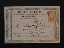 1873 - CARTE POSTALE PRECURSEUR AFFRANCHIE CERES 15c CAD DOUAI Pour BOUCHAIN NORD / LOSANGE ÉVIDÉ - Marcophilie (Lettres)