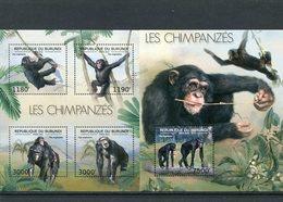 BURUNDI 2012 CHIMPANZEES SERIE + BLOK MNH. - Chimpanzés