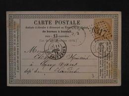 1873 - CARTE POSTALE PRECURSEUR AFFRANCHIE CERES 15c CAD LYON Pour LES VANS ARDECHE LOSANGE GC 6317 - 1849-1876: Periodo Classico