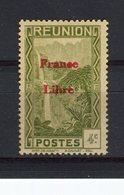 """REUNION - Y&T N° 221* - Cascade De Salazie Surchargé """"France Libre"""" - La Isla De La Reunion (1852-1975)"""