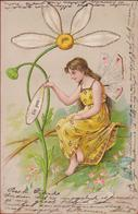 Fairy Fee ELF Elfje Elbe Elfe Carte Gaufree Et Doree Embossed Relief Fantaisie Jugendstil Art Nouveau 1904 Illustrateur - Illustrateurs & Photographes
