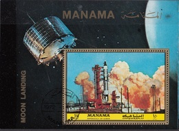 Manama 1972 Bf. 208A NASA Moon Landing Rocket Sheet Perf. CTO - FDC & Commemorrativi