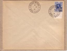 ALGERIE - CACHET SECOURS NATIONAL BONE SUR TMBRE POSTES ALGERIE 65 C RUE DE LA CASBAH AVEC SURCHARGE 50 C - 1941 - Lettres & Documents