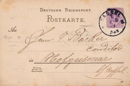 Germany ( Deutsches Reich) Postal Stationery Card From 1889, Cassel - Germany