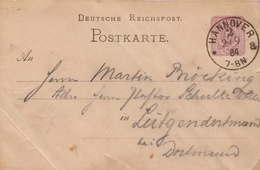 Germany ( Deutsches Reich) Postal Stationery Card From 1884, Hannover - Germany