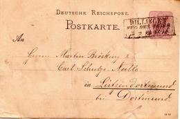 Germany ( Deutsches Reich) Postal Stationery Card From 1884, Dijtinden (???) - Germany