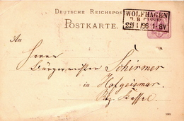 Germany ( Deutsches Reich) Postal Stationery Card From 1886, Wolfhagen - Germany