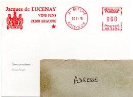 VIGNE & VIN = 21 BEAUNE 1976 = FLAMME ROUGE = EMA  ' JACQUES De LUCENAY / VINS FINS ' - Postmark Collection (Covers)