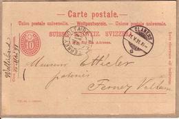 SUISSE - CARTE POSTALE ENTIER POSTAL VII 90 10 , DE CLARENS A FERNEY - REPIQUAGE CHOCOLAT PH. SUCHARD NEUCHATEL - 1891 - Stamped Stationery