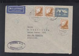 Dt. Reich Luftpost Brief 1938 Darmstadt Nach Brasilien - Cartas
