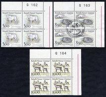 GREENLAND 1993 Mammals I In Used Corner Blocks Of 4,  Michel 239-41 - Greenland