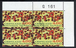 GREENLAND 1993 AIDS Campaign In Used Corner Block Of 4,  Michel 238 - Greenland