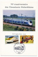 """Carte Postale """"75eme Anniversaire Des Cheminots Philatélistes"""" - TGV Duplex Paris - Oblit 30/31.01.2002 - Trains"""