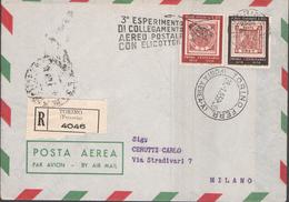 AEROGRAMMA - RACCOMANDATA DA TORINO A MILANO - 28/01/1959 - 3° ESPERIMENTO DI COLLEGAMENTO AEREO POSTALE CON ELICOTTERI - Elicotteri