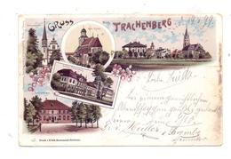 NIEDERSCHLESIEN - TRACHENBERG / ZMIGROD, Lithographie 1899, Schützenhaus, Schloss, Kirche, Schlosskapelle, Dorfansicht - Schlesien