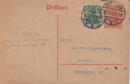 Germany ( Deutsches Reich) Postal Stationery Card From 1919, Bremen - Germany