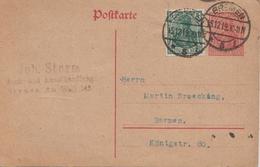 Germany ( Deutsches Reich) Postal Stationery Card From 1919, Bremen - Entiers Postaux