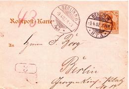 Germany ( Deutsches Reich) Postal Stationery Card ( Rohrpost ) From 1904, Berlin W - Deutschland