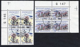GREENLAND 1992 Flowers III In Used Corner Blocks Of 4.  Michel 223-24 - Greenland