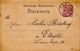 Germany ( Deutsches Reich) Postal Stationery Card From 1887, Hilden - Germany