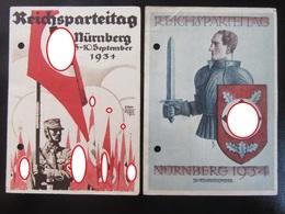 2x Postkarte Propaganda Reichsparteitag - Gelöchert - Deutschland