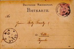 Germany ( Deutsches Reich) Postal Stationery Card From 1885, Minden To Celle - Germany