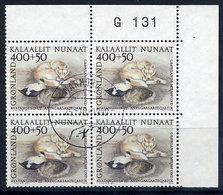 GREENLAND 1990 Welfare Fund In Used Corner Block Of 4.  Michel 208 - Greenland