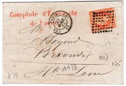 Lettre Paris 1860 Napoléon III 40 Centimes Comptoir De L'Escompte De Paris Banque - 1853-1860 Napoleon III