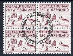 GREENLAND 1986 Art VII In Used  Block Of 4.  Michel 167 - Greenland