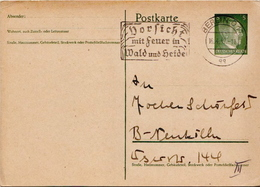 Germany ( Deutsches Reich) Used Postal Stationery Card From 1942 With Vorsicht Mit Feuer In Walde Und Seide Cancel - Entiers Postaux